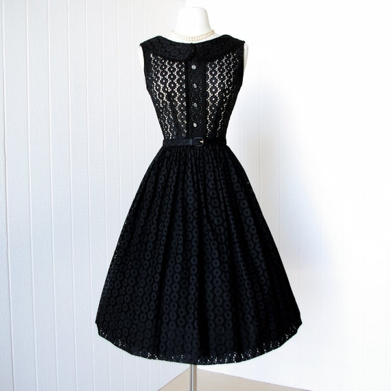 vintage 1950's dress ...pretty BLACK EYELET cotton full skirt pin-up cocktail party dress