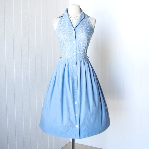 vintage 1950's dress ...fab PRINCE CHARMERS embroidered blue cotton halter full skirt pin-up shirtwaist dress