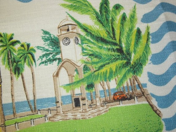 Vintage Souvenir Towel Montserrat West Indies Palm Trees