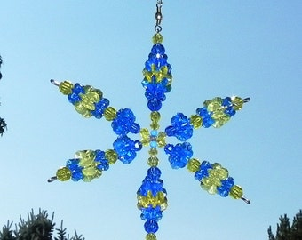 Beaded Snowflake Suncatcher Wind Spinner in Team Colors Blue and Yellow in Large Size