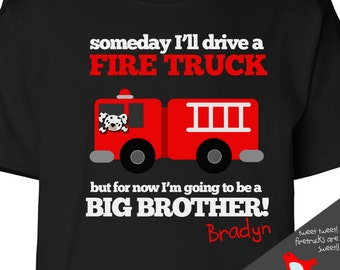 big brother shirt firetruck FRONT/BACK DARK t shirt perfect pregnancy announcement for the fireman big brother to be