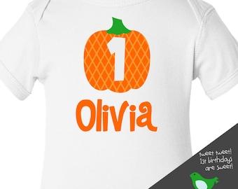 first 1st birthday pumpkin fall party t-shirt or bodysuit