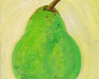 Pear original acrylic painting on canvas, fruit