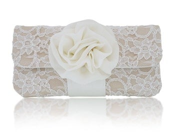 Ivory and champagne lace EVA bridal wedding clutch purse, bridesmaids, mother of the bride