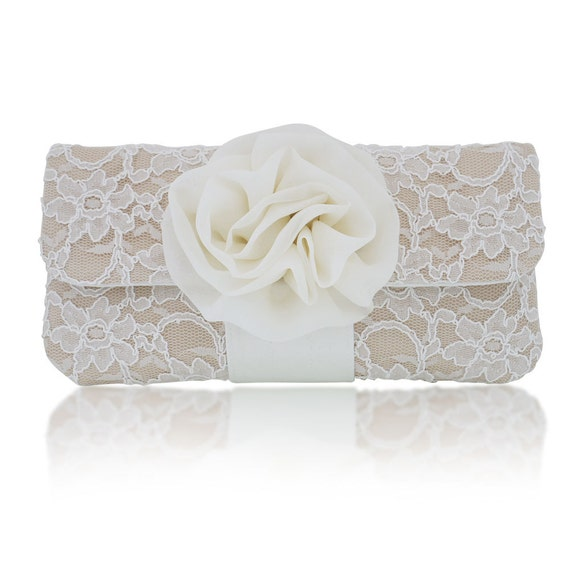Ivory and champagne lace Eva clutch purse