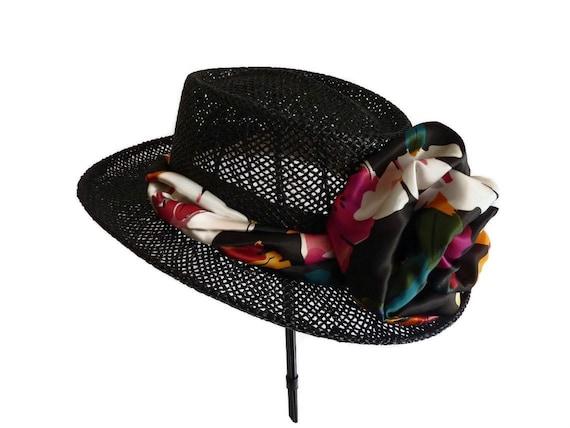 "Womens Golf hat, Golf Head Cover, Straw Sun Hat, Summer Hat Gambler style Golf Hat - ""THE BLACK NINE"""