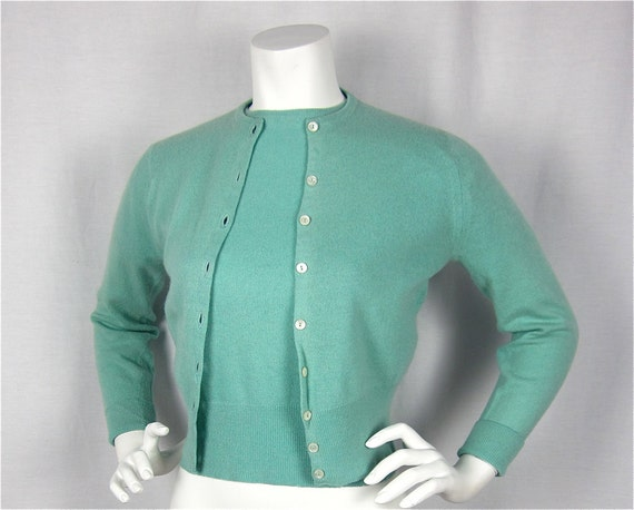 Vintage 50s Cashmere Sweater Twinset, Made in Scotland, Sz S