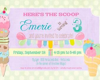 Ice Cream Birthday Party Invitation - 5x7 DIGITAL FILE (one side)