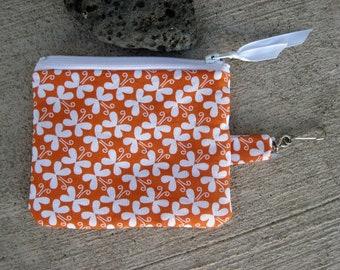 Linen and Cotton Coin Purse - Orange and white Coin Purse - Orange zip pouch