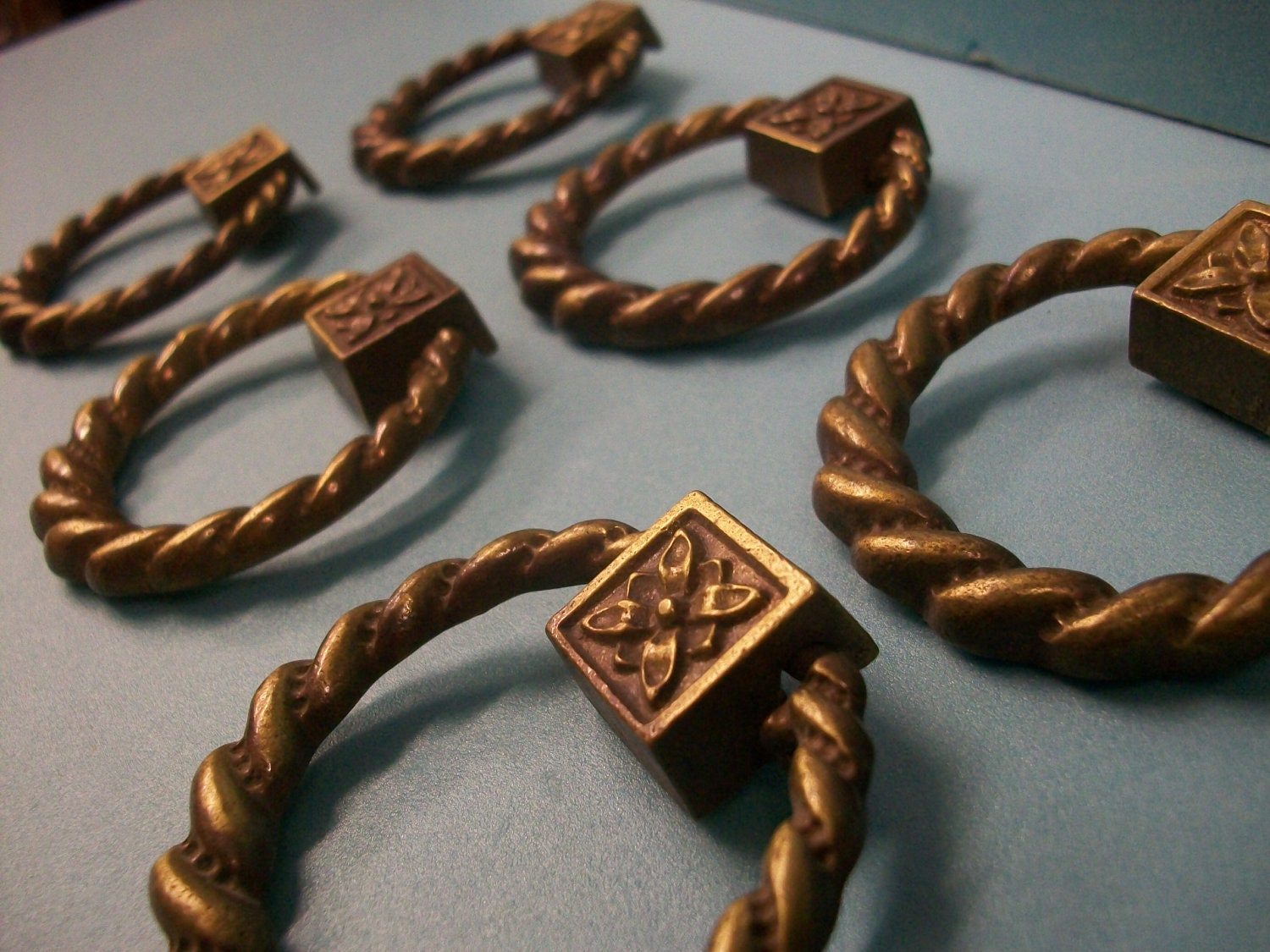 Antique KEELER Rope RING PULLS Brass Drawer Pulls By Qsmuse