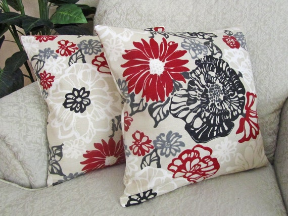 Red Black Throw Pillow Cover Decorative Couch Pillow Cover