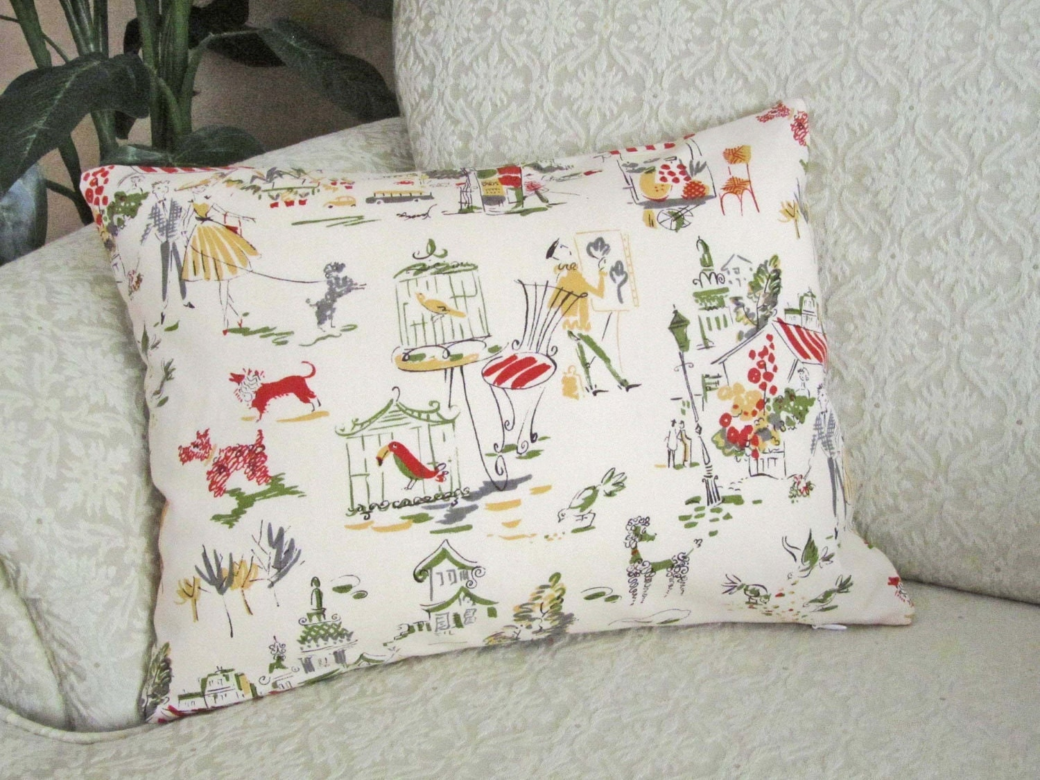 Paris French Toile Throw Pillow Cover by asmushomeinteriors