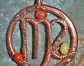 Virgo zodiac copper pendant with gemstones