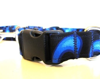 SALE - Blue Fire Dog Collar and Leash Set - Size M