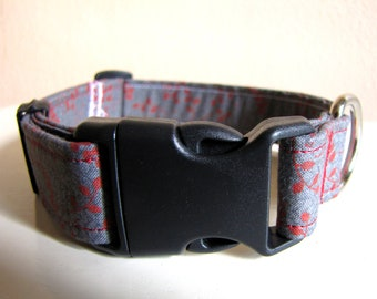 SALE - Retro Gray and Rust Dog Collar - Size S/M