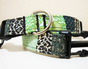 Go Green Patchwork Dog Collar - Size M/L