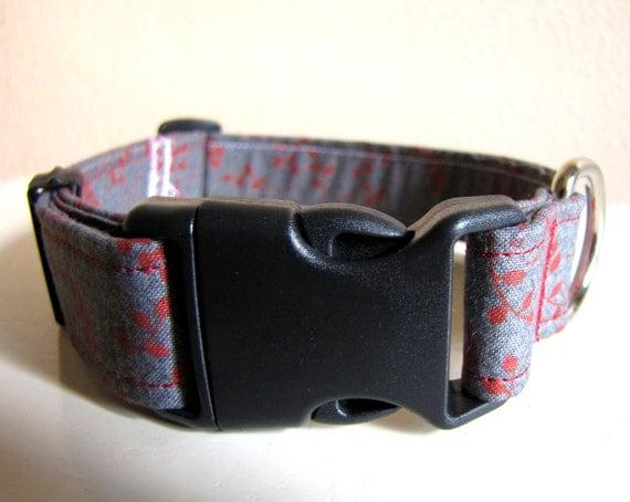 SALE - Retro Gray and Rust Dog Collar - Size S/M