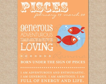PISCES Zodiac Archival Giclee Art Prints for Nursery / Child's Room // Custom Match colors to your room // N-Z04-1PS AA1