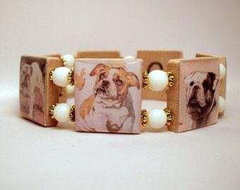BULLDOG SCRABBLE Bracelet / Dog Lover Gift Ideas / Handmade Jewelry - U.S.A. Made