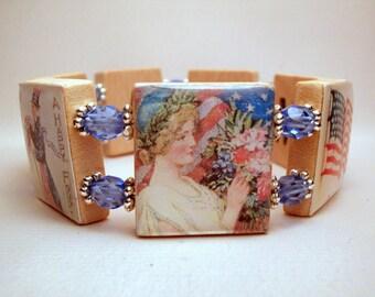 AMERICANA JEWELRY / Scrabble Bracelet / Upcycled Art / Vintage America / United States - USA