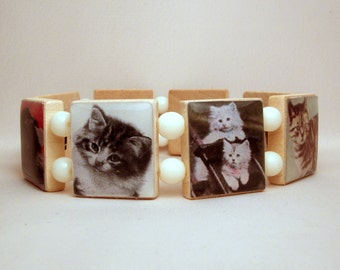 CAT JEWELRY / SCRABBLE Bracelet / Unusual Gifts / Upcycled