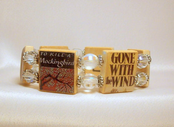 """Banned Books Bracelet / """"Right to Read"""" / Book Lover Gift / Upcycled / Scrabble Jewelry"""