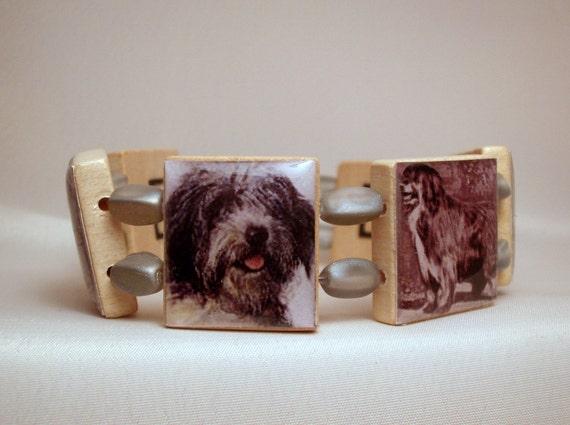 Bearded Collie Bracelet / Beardie / Dog Lover Gift / Upcycled / Scrabble Jewelry