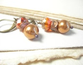 Burnt orange earrings copper crystal pearls textured copper rustic autumn fashion handmade pamelasjewelry