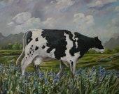 Original Painting by Sarah Davis Cow Field Flowers Farm