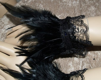 Pair Black Feather Wrist Cuffs Handmade