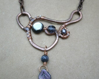 Smoky Pearl Hammered Copper Pendant Necklace