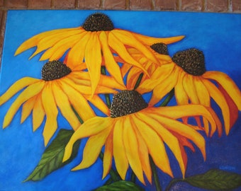 Floral Painting - BLACK EYED SUSANS - deep blue background - Yellow -Gold- Flowers- 18x24