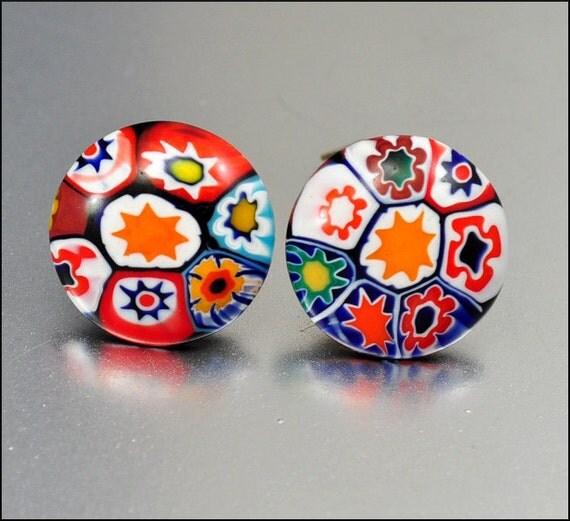 Vintage Millefiore Glass Earrings Murano Italian Button Vintage 1940s Costume Jewelry