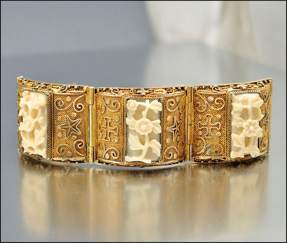 Art Deco Chinese Bracelet Ivory Silver Gold Carved Flower Star Vintage 1920s Jewelry