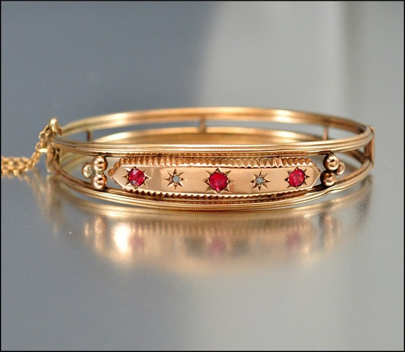 Antique Victorian 9k Rose Gold Bracelet Bangle Diamond Ruby