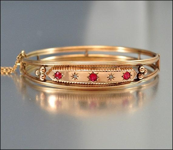 Antique Victorian 9k Rose Gold Bracelet Bangle Diamond By