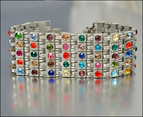Art Deco Bracelet Rhinestone Silver Pot Metal Wide Colorful Vintage 1930s Wedding Jewelry
