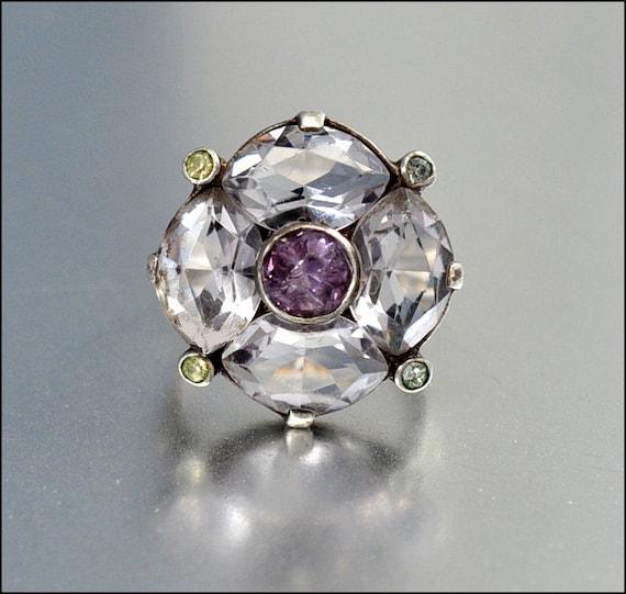 Statement Art Deco Ring Sterling Silver Paste Rhinestone Glass Amethyst Vintage Jewelry 1920s