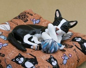 Cat Sculpture Black & White Polymer Clay Cat and Mouse Sculpture on Cushion Tuxedo Cat Figurine