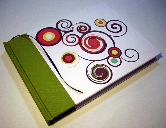 """Swirled Wonder Guest Book, Blank Notebook. 6 x 8"""". In stock, ready to ship. Hand bound."""