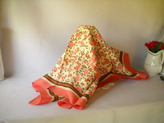 Vintage Scarf Totes Scarf Flowered Scarf Pink Summer Fashion Botanical Garden Party Rain Scarf