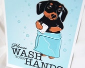 Wash Your Hands Dachshund (Black and Tan) - 8x10 Eco-friendly Print