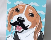 Mustache Beagle Greeting Card