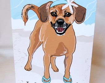 Beach Puggle Greeting Card