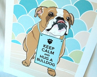 Keep Calm Bulldog with Scaled Background - 7x9 Eco-friendly Print