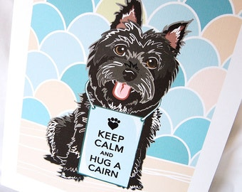 Keep Calm Cairn Terrier with Scaled Background - Black - 7x9 Eco-friendly Print