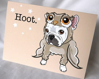 Lil Owl Frenchie Greeting Card