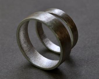 Wedding Rings. Wedding Band Set. Wide Flat Rings. Modern Contemporary Simple Sleek Elegant Design. Sterling Silver. Jewellery. Jewelry.