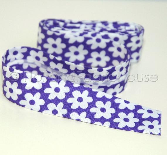 Bias tape cute flowers in Purple -- 2 meters