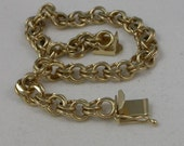 Reserved for Joyce 14K Yellow Gold Double Link Diamond Cut 7.25 Inch Heavy Bracelet Vintage 585